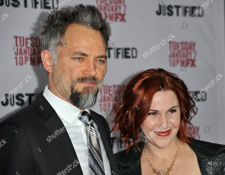 """David Meunier, left, and Faline England arrive at the LA Premiere Screening of """"Justified"""" at the Directors Guild of America on in Los Angeles"""