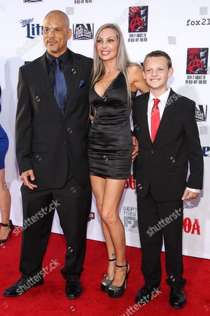 """David Labrava, left, attends the LA Premiere Screening of """"Sons Of Anarchy"""" at at TCL Chinese Theatre, in Los Angeles"""