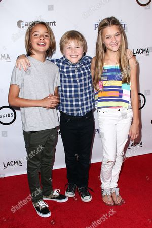 """Mace Coronel, from left, Casey Simpson and Lizzie Greene attend the LA Special Screening of """"Kahlil Gibran's The Prophet"""" held at LACMA's Bing Theatre, in Los Angeles"""