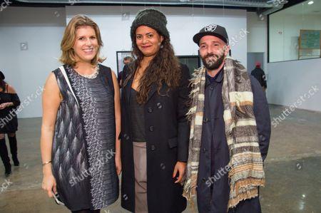 Stock Image of Marika Kielland, left Nicole Millera and Piero Golia attend the LAXART Opening at 7000 Santa Monica Blvd., in Los Angeles