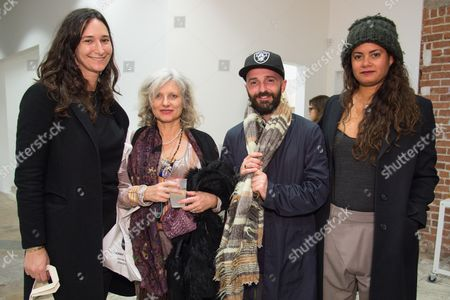 Bettina Korek, left guest, Piero Golia and Nicole Miller attend the LAXART Opening at 7000 Santa Monica Blvd., in Los Angeles