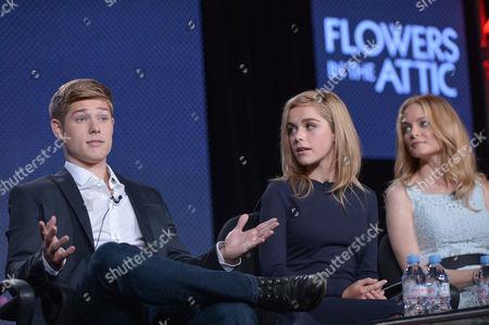 From left, Mason Dye, Kiernan Shipka and Heather Graham speak on stage at the Lifetime/A&E Winter Press Tour, on in Pasadena, Calif