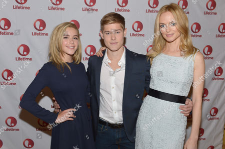 From left, Kiernan Shipka, Mason Dye and Heather Graham attend the Lifetime/A&E Winter Press Tour, on in Pasadena, Calif