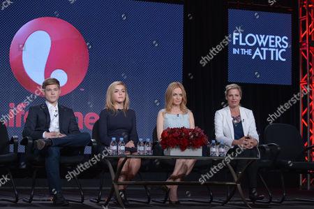 From left, Mason Dye, Kiernan Shipka, Heather Graham and screenwriter Kayla Alpert speak on stage at the Lifetime/A&E Winter Press Tour, on in Pasadena, Calif