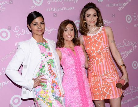 Model Camila Alves, left, Dustee Tucker Jenkins, Target's VP of Public Relations and Social Media and actress Emmy Rossum attend the Lilly Pulitzer for Target launch event at the Bryant Park Grill, in New York