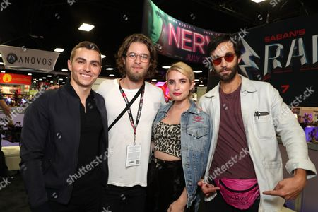 """Dave Franco, Director Henry Joost, Emma Roberts and Director Ariel Schulman seen at Lionsgate """"Nerve"""" Talent Signing at 2016 Comic-Con, in San Diego, Calif"""