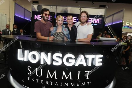 """Director Ariel Schulman, Emma Roberts, Dave Franco and Director Henry Joost seen at Lionsgate """"Nerve"""" Talent Signing at 2016 Comic-Con, in San Diego, Calif"""