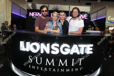 "Director Ariel Schulman, Emma Roberts, Dave Franco and Director Henry Joost seen at Lionsgate ""Nerve"" Talent Signing at 2016 Comic-Con, in San Diego, Calif"