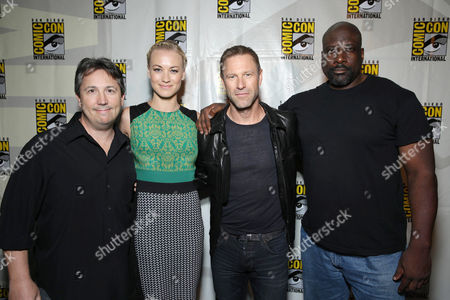 Director Stuart Beattie, Yvonne Strahovski, Aaron Eckhart and Writer/Executive Producer Kevin Grevioux seen at Lionsgate Presentation at 2013 Comic-Con, on Saturday, July, 20, 2013 in San Diego, Calif