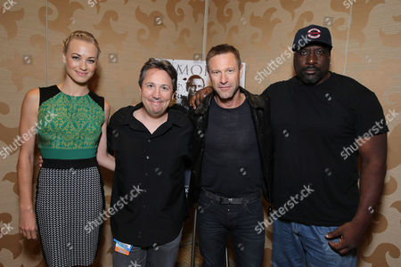 PREMIUM RATES APPLY Yvonne Strahovski, Director Stuart Beattie, Aaron Eckhart and Writer/Executive Producer Kevin Grevioux seen at Lionsgate Presentation at 2013 Comic-Con, on Saturday, July, 20, 2013 in San Diego, Calif