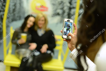 Actress Alex Lombard, left and guest take a tea-break at the Lipton Uplift Lounge amidst the hustle and bustle of Sundance, in Park City, UT