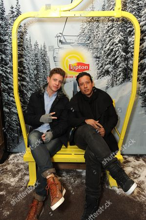 Actors Jef Holm and Angel Cabada take a tea-break at the Lipton Uplift Lounge amidst the hustle and bustle of Sundance, in Park City, UT