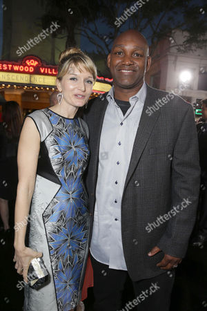 Stock Photo of Producer Annie Marter and Producer Broderick Johnson seen at the Los Angeles Premiere of Alcon Entertainment's 'Transcendence', on in Westwood, Calif