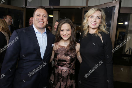 SVP of DirecTV Entertainment Chris Long, Sarah Jeffery and Vice President and General Manager of Audience Network Patty Ishimoto at the Los Angeles Premiere of DirecTV original series ROGUE, on Tuesday, March, 26, 2013 in Los Angeles held at Arclight Hollywood