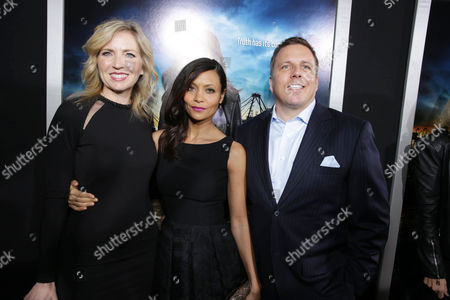 Vice President and General Manager of Audience Network Patty Ishimoto, Thandiwe Newton and SVP of DirecTV Entertainment Chris Long at the Los Angeles Premiere of DirecTV original series ROGUE, on Tuesday, March, 26, 2013 in Los Angeles held at Arclight Hollywood