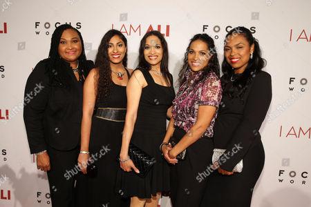 "Maryum Ali, Khaliah Ali-Camacho, Jamillah Ali-Joyce, Rasheda Ali-Walsh and Hana Ali seen at the Los Angeles Premiere of Focus World's ""I Am Ali"" on Wed, in Hollywood"