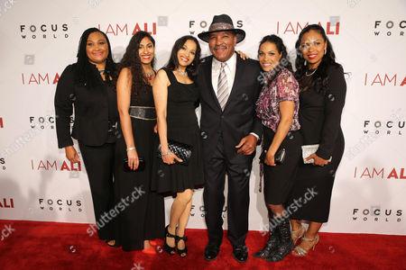 "Maryum Ali, Khaliah Ali-Camacho, Jamillah Ali-Joyce, Rahman Ali, Rasheda Ali-Walsh and Hana Ali seen at the Los Angeles Premiere of Focus World's ""I Am Ali"" on Wed, in Hollywood"