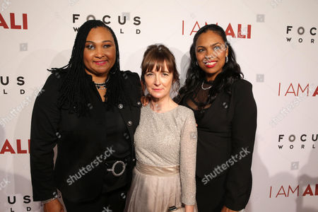 """Maryum Ali, Director/Writer Clare Lewins and Hana Ali seen at the Los Angeles Premiere of Focus World's """"I Am Ali"""" on Wed, in Hollywood"""