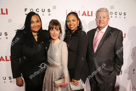 """Maryum Ali, Director/Writer Clare Lewins, Hana Ali, and Gene Kilroy seen at the Los Angeles Premiere of Focus World's """"I Am Ali"""" on Wed, in Hollywood"""
