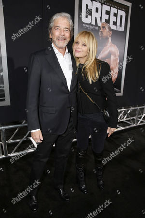 Todd Morgan and Rosanna Arquette seen at Los Angeles World Premiere of New Line Cinema and Metro-Goldwyn-Mayer Pictures' 'Creed' at Regency Village Theater, in Westwood, CA
