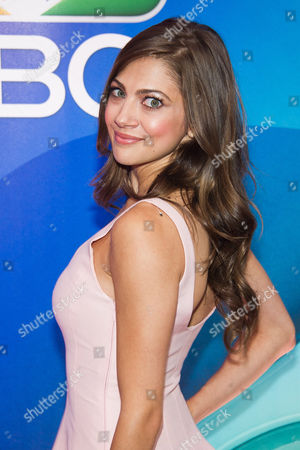Mia Serafino arrives at the NBC Network 2015 Programming Upfront presentation at Radio City Music Hall, in New York