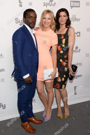 "Chris Chalk, left, Beth Riesgraf, and Lauren Stamile, right, of ""Complications"" attend the NBCUniversal Cable Entertainment 2015 Upfront at The Javits Center, in New York"