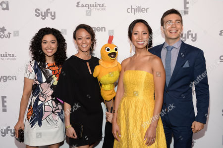 "Carly Ciarrocchi, from left, Kaitlin Becker, Chica, Emily Borromeo, and Tim Kubart of ""The Sunny Side Up Show"" attend the NBCUniversal Cable Entertainment 2015 Upfront at The Javits Center, in New York"