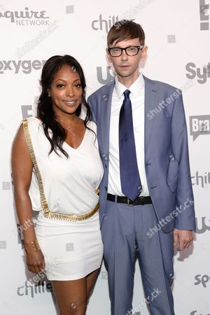 Kellita Smith, left, and DJ Qualls attend the NBCUniversal Cable Entertainment 2015 Upfront at The Javits Center, in New York
