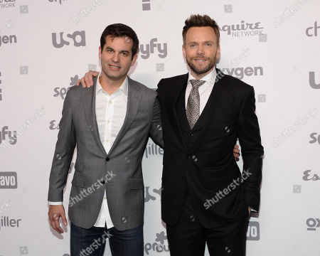 Michael Kosta, left, and Joel McHale attend the NBCUniversal Cable Entertainment 2015 Upfront at The Jacob Javits Center, in New York