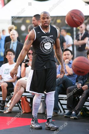 Corey Maggette plays in the Nike Basketball 3ON3 Tournament - ESPNLA 710 All-Star Celebrity Game held at L.A. LIVEâ?™s Microsoft Square, in Los Angeles