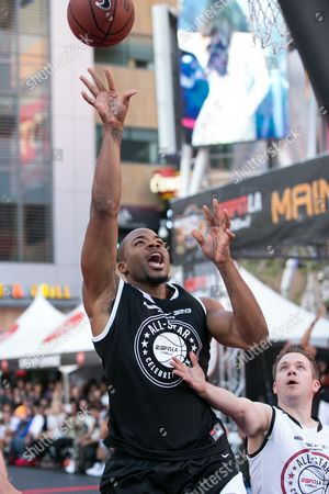 Corey Maggette plays in the Nike Basketball 3ON3 Tournament - ESPNLA 710 All-Star Celebrity Game held at L.A. LIVE Microsoft Square, in Los Angeles