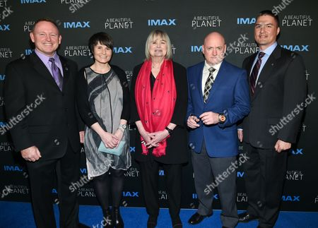 """Commander Barry """"Butch"""" Wilmore, left, European Space Agency Astronaut Samantha Cristoforetti, director Toni Myers, Former NASA Astromaut Scott Kelly and Flight Engineer Dr. Kjell Lindgren attend the premiere of """"A Beautiful Planet"""" at AMC Loews Lincoln Square, in New York"""