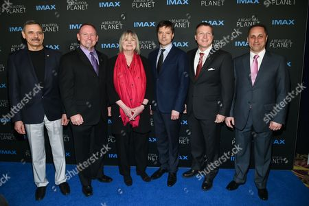 """Russia Space Agency Cosmonaut Mikhail """"Misha"""" Kornienko, left, Commander Barry """"Butch"""" Wilmore, director Toni Myers, Russia Space Agency Cosmonaut Oleg Kononenko, Commander Terry Virts and Russia Space Agency Cosmonaut Anton Shkaplerov attend the premiere of """"A Beautiful Planet"""" at AMC Loews Lincoln Square, in New York"""