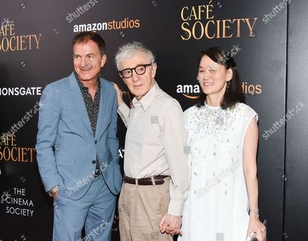 """Producer Edward Walson, left, director Woody Allen and wife Soon-Yi Previn attend the premiere of Amazon Studio and Liongate's """"Cafe Society"""", hosted by The Cinema Society, at the Paris Theatre, in New York"""