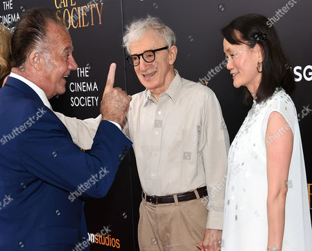 """Actor Tony Sirico, left, director Woody Allen and wife Soon-Yi Previn attend the premiere of Amazon Studio and Liongate's """"Cafe Society"""", hosted by The Cinema Society, at the Paris Theatre, in New York"""
