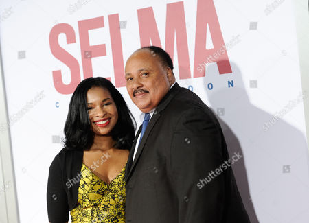 "Martin Luther King III and wife Arndrea Waters attend the premiere of ""Selma"" at the Ziegfeld Theatre, in New York"