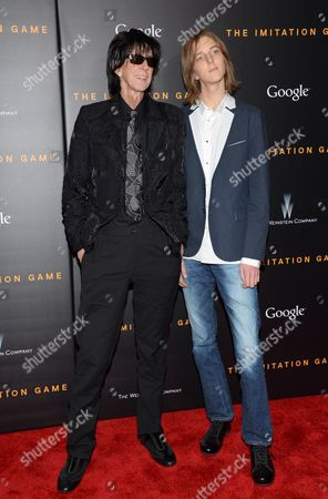 """Musician Ric Ocasek and son Oliver Orion Ocasek attend the premiere of """"The Imitation Game"""" at Ziegfeld Theatre, in New York"""