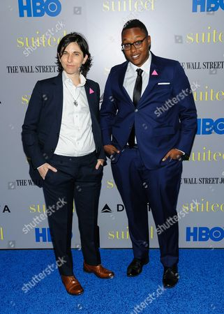 """Stock Photo of Melissa Plaut and Everett Arthur attend the premiere of HBO Documentary Films' """"Suited"""", at BAM Rose Cinemas, in New York"""