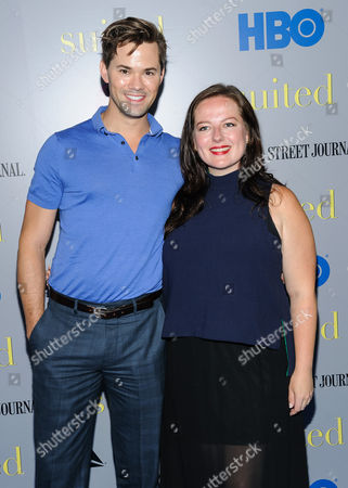 "Andrew Rannells and Zuzanna Szadkowski attend the premiere of HBO Documentary Films' ""Suited"", at BAM Rose Cinemas, in New York"