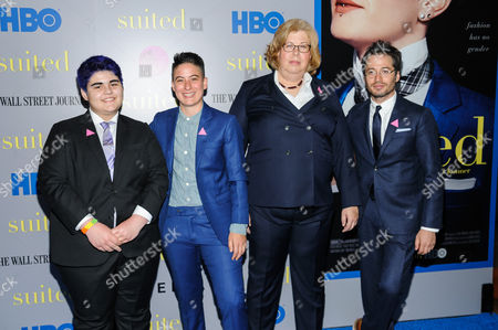 "Aidan Star Jones, Rae Tutera, Jillian T. Weiss, and Daniel Friedman attend the premiere of HBO Documentary Films' ""Suited"", at BAM Rose Cinemas, in New York"