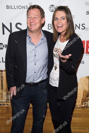 """Michael Feldman and Savannah Guthrie attend the Showtime series premiere of """"Billions"""" at The Museum of Modern Art, in New York"""