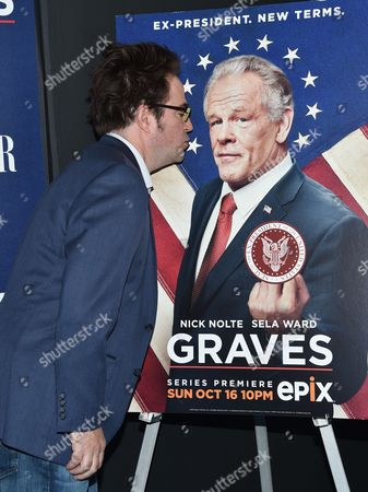 "Actor Roger Bart attends the premiere of the EPIX Original Series ""Graves"", hosted by Vanity Fair and The Cinema Society, at the Museum of Modern Art, in New York"