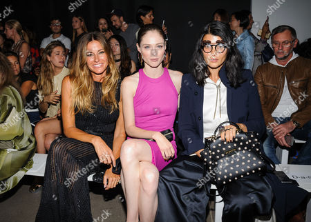 Kelly Bensimon, from left, Coco Rocha, and Crystal Renn appear at the Zac Posen Spring 2017 collection at Spring Studios, in New York