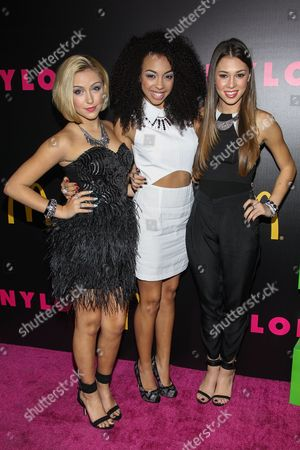 From left, Millie Thrasher, Summer Reign, and Celine Polenghi of Sweet Suspense arrive at the NYLON December/January Cover Launch Party Sponsored by McDonald's at Quixote Studios on in West Hollywood, CA