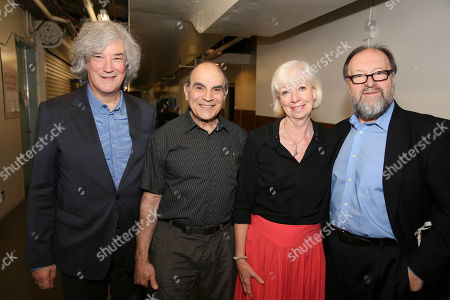 "Stock Image of From left, producer Karl Sydow, cast members David Suchet and Sheila Ferris and producer Duncan C. Weldon pose backstage after the opening night performance of ""The Last Confession"" at the Center Theatre Group/Ahmanson Theatre, in Los Angeles, Calif"