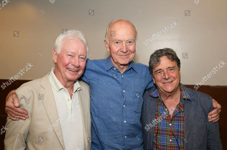 "From left, cast members Phillip Craig, Donald Douglas and Richard O'Callaghan pose backstage after the opening night performance of ""The Last Confession"" at the Center Theatre Group/Ahmanson Theatre, in Los Angeles, Calif"