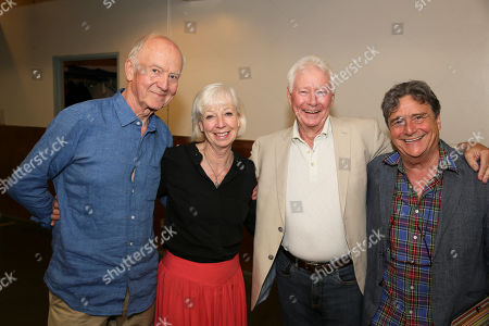 "Stock Picture of From left, cast members Donald Douglas, Sheila Ferris, Philip Craig and Richard O'Callaghan pose backstage after the opening night performance of ""The Last Confession"" at the Center Theatre Group/Ahmanson Theatre, in Los Angeles, Calif"