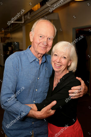 "From left, cast members Donald Douglas and Sheila Ferris pose backstage after the opening night performance of ""The Last Confession"" at the Center Theatre Group/Ahmanson Theatre, in Los Angeles, Calif"