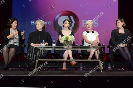 From left, Pippa Harris, Pam Ferris, Jessica Raine, Helen George, and Heidi Thomas attend the PBS Winter TCA Tour at the Langham Huntington Hotel, in Pasadena, Calif