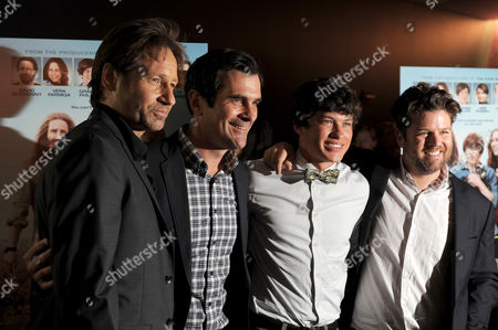 "David Duchovny, Ty Burrell, Graham Phillips and Christopher Neil attend the premiere of ""Goats"" at The Landmark Theater on in Los Angeles"